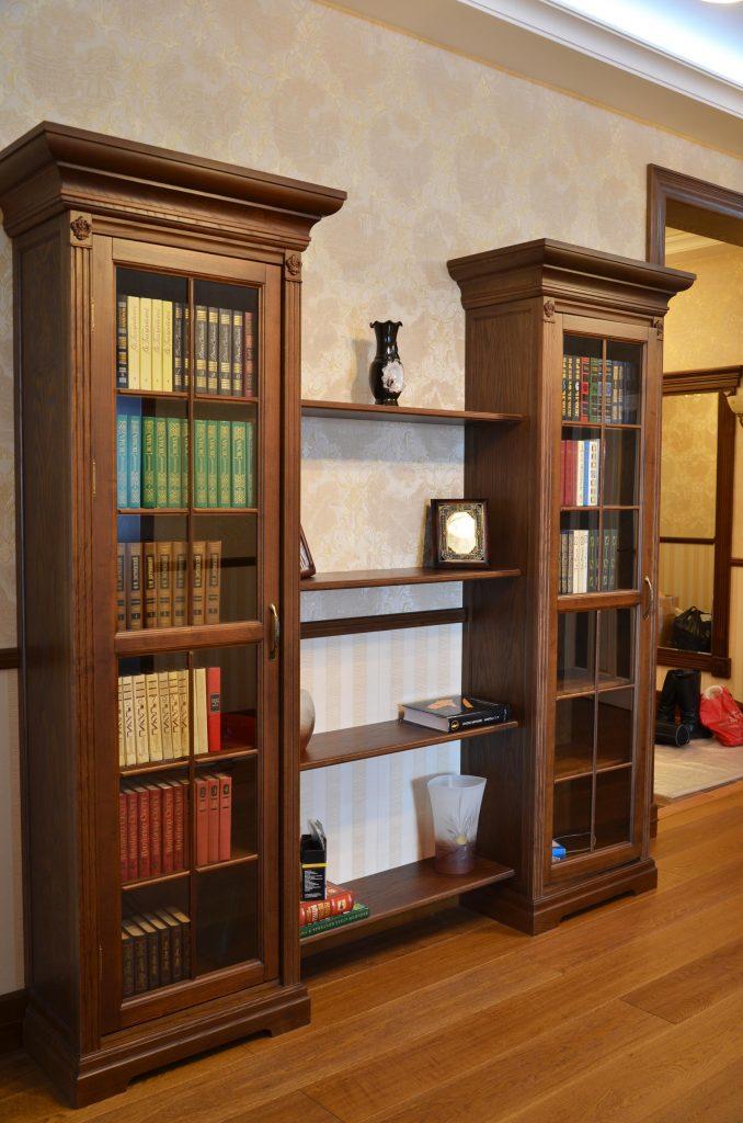 Мебель-шкаф-книжный-массив-ясеня